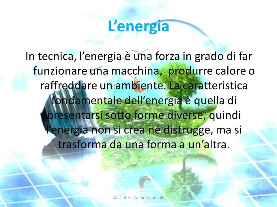 L'energia In tecnica, l'energia è una forza in grado di far funzionare una macchina, produrre calore o raffreddare un ambiente.
