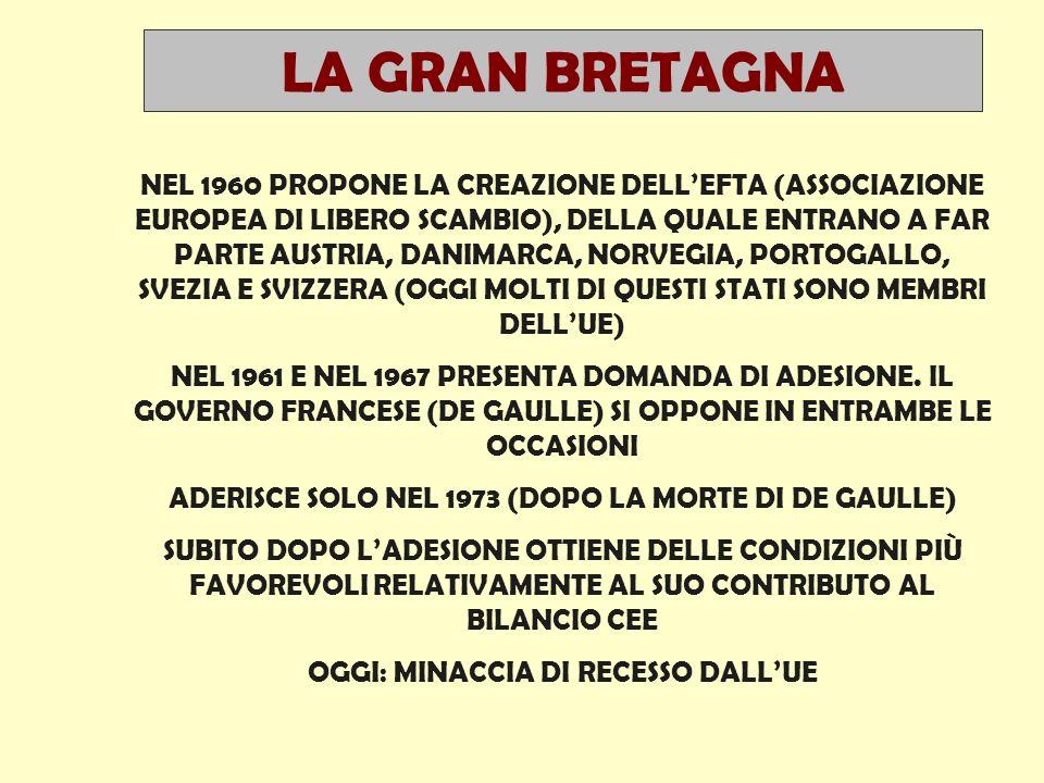 NEL 1960 PROPONE LA CREAZIONE DELL'EFTA (ASSOCIAZIONE EUROPEA DI LIBERO SCAMBIO), DELLA QUALE ENTRANO A FAR PARTE AUSTRIA, DANIMARCA, NORVEGIA, PORTOGALLO, SVEZIA E SVIZZERA (OGGI MOLTI DI QUESTI STATI SONO MEMBRI DELL'UE) NEL 1961 E NEL 1967 PRESENTA DOMANDA DI ADESIONE.