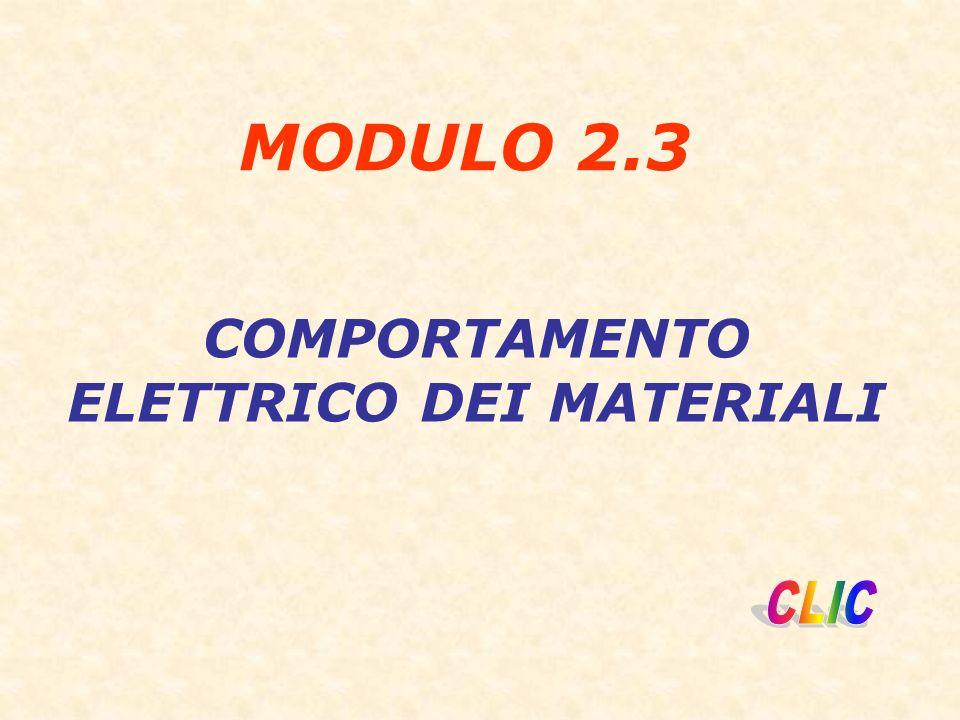 MODULO 2.3 COMPORTAMENTO ELETTRICO DEI MATERIALI