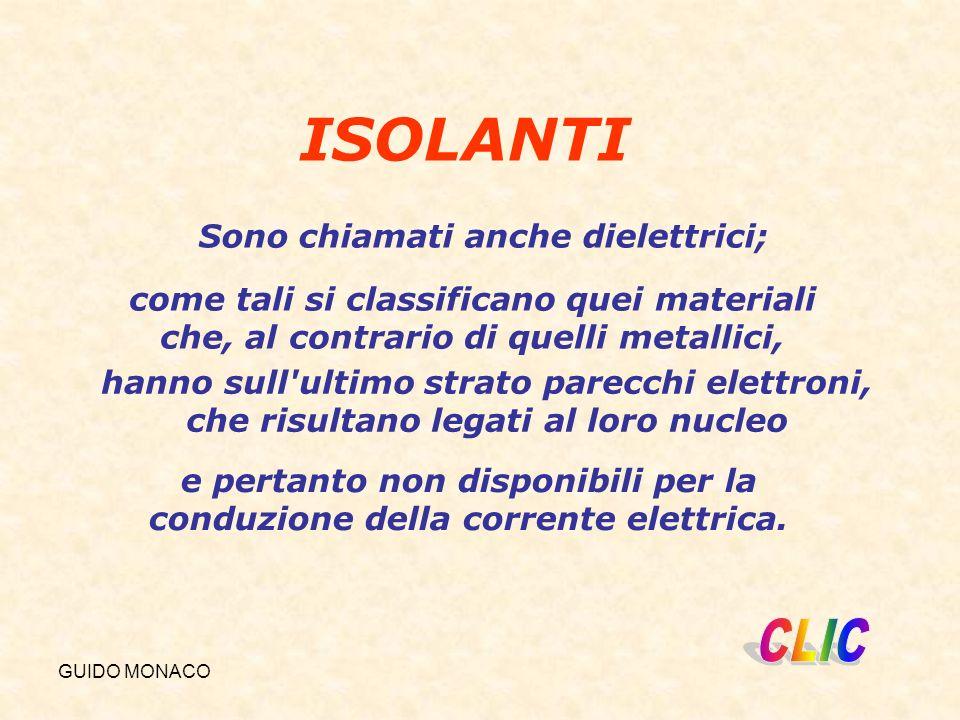GUIDO MONACO ISOLANTI Sono chiamati anche dielettrici; come tali si classificano quei materiali che, al contrario di quelli metallici, e pertanto non disponibili per la conduzione della corrente elettrica.