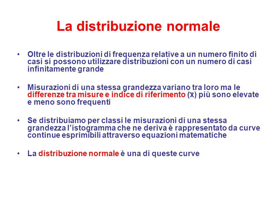 La distribuzione normale Oltre le distribuzioni di frequenza relative a un numero finito di casi si possono utilizzare distribuzioni con un numero di casi infinitamente grande Misurazioni di una stessa grandezza variano tra loro ma le differenze tra misure e indice di riferimento (x) più sono elevate e meno sono frequenti Se distribuiamo per classi le misurazioni di una stessa grandezza l'istogramma che ne deriva è rappresentato da curve continue esprimibili attraverso equazioni matematiche La distribuzione normale è una di queste curve