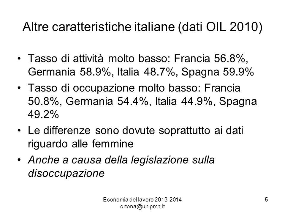 Economia del lavoro 2013-2014 ortona@unipmn.it 5 Altre caratteristiche italiane (dati OIL 2010) Tasso di attività molto basso: Francia 56.8%, Germania 58.9%, Italia 48.7%, Spagna 59.9% Tasso di occupazione molto basso: Francia 50.8%, Germania 54.4%, Italia 44.9%, Spagna 49.2% Le differenze sono dovute soprattutto ai dati riguardo alle femmine Anche a causa della legislazione sulla disoccupazione