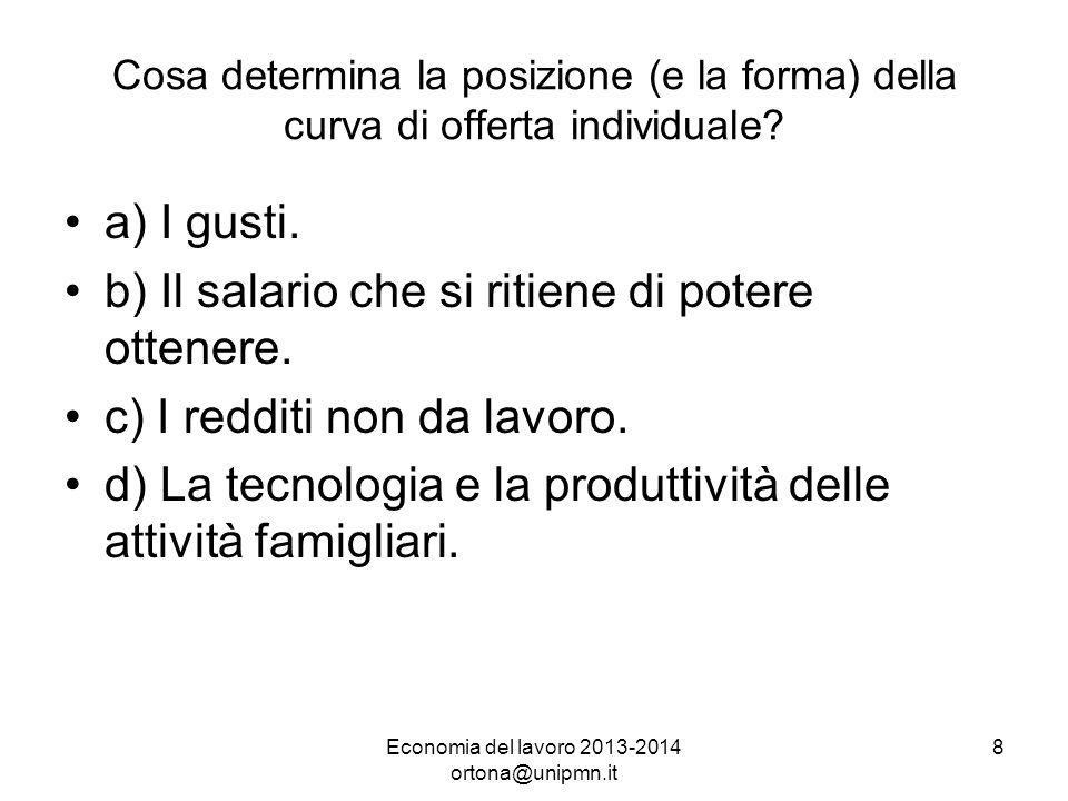 Economia del lavoro 2013-2014 ortona@unipmn.it 8 Cosa determina la posizione (e la forma) della curva di offerta individuale.