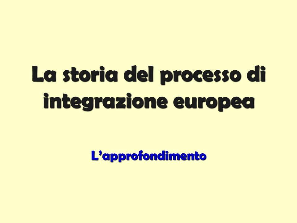 La storia del processo di integrazione europea L'approfondimento