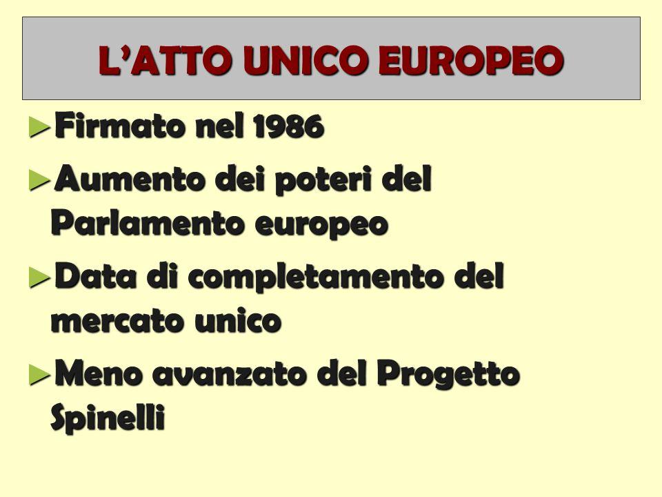 L'ATTO UNICO EUROPEO ► Firmato nel 1986 ► Aumento dei poteri del Parlamento europeo ► Data di completamento del mercato unico ► Meno avanzato del Progetto Spinelli