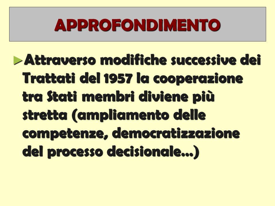 APPROFONDIMENTO ► Attraverso modifiche successive dei Trattati del 1957 la cooperazione tra Stati membri diviene più stretta (ampliamento delle competenze, democratizzazione del processo decisionale…)