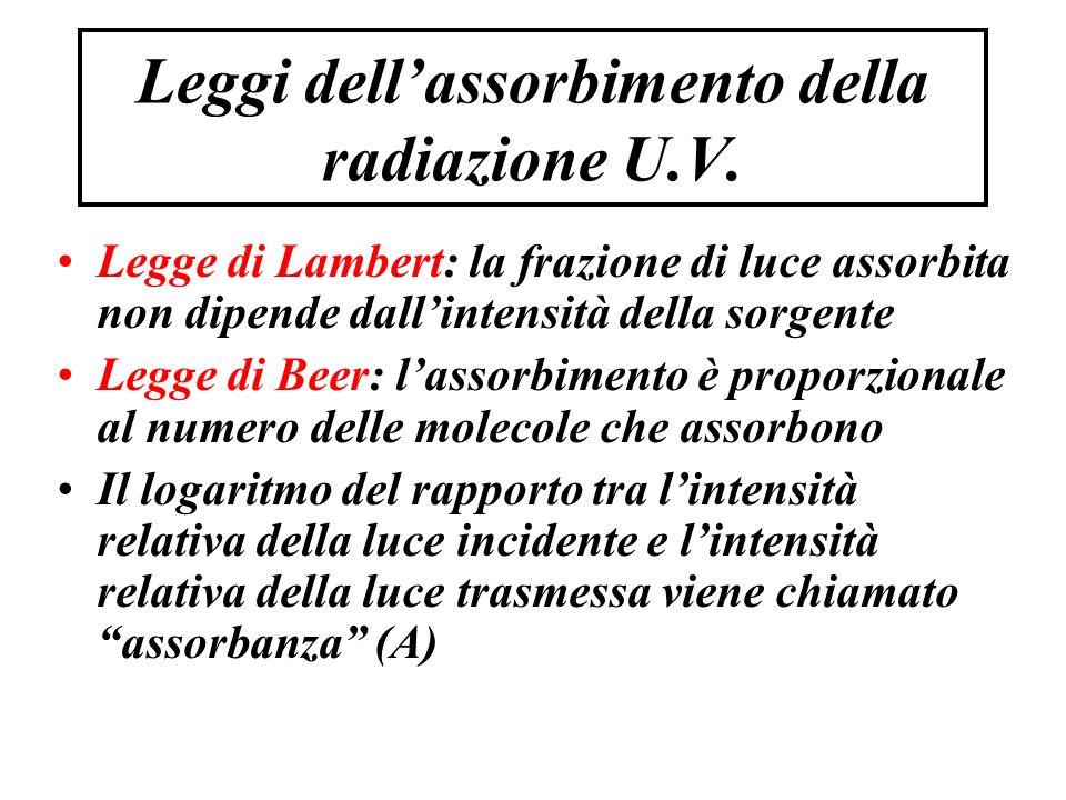 Leggi dell'assorbimento della radiazione U.V.
