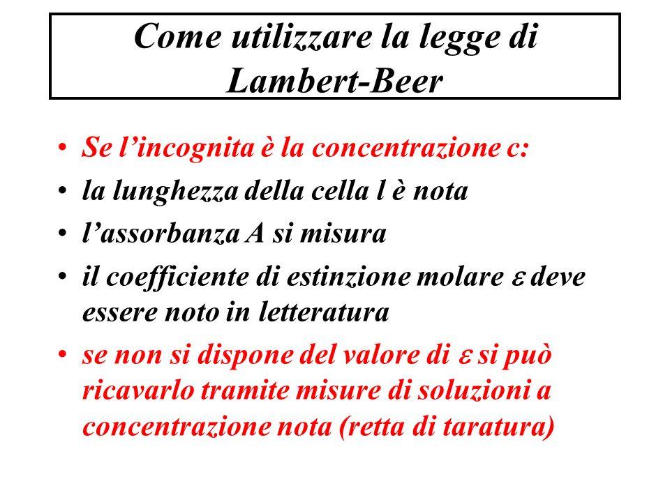 Come utilizzare la legge di Lambert-Beer Se l'incognita è la concentrazione c: la lunghezza della cella l è nota l'assorbanza A si misura il coefficiente di estinzione molare  deve essere noto in letteratura se non si dispone del valore di  si può ricavarlo tramite misure di soluzioni a concentrazione nota (retta di taratura)