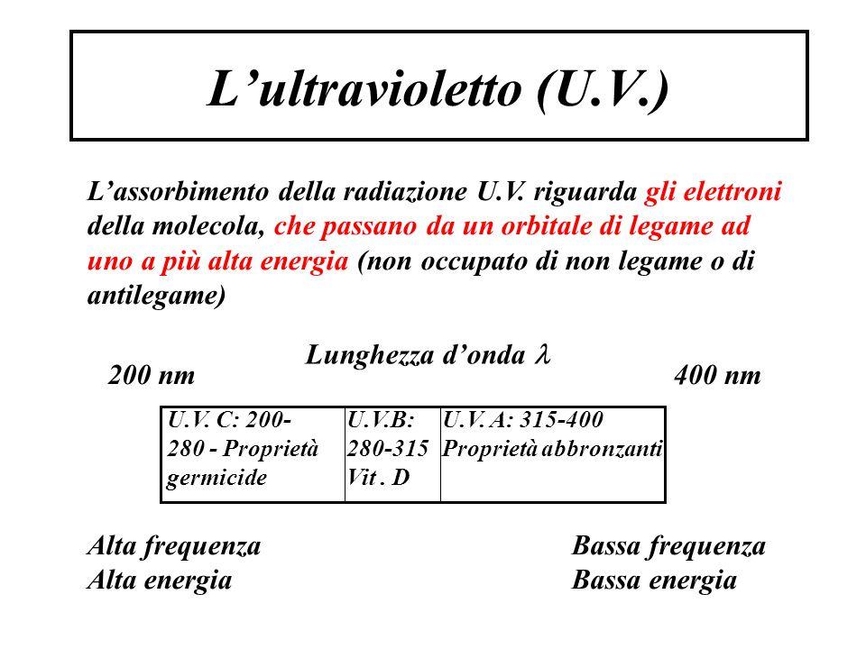 L'ultravioletto (U.V.) 400 nm200 nm Bassa frequenza Bassa energia Alta frequenza Alta energia Lunghezza d'onda L'assorbimento della radiazione U.V.