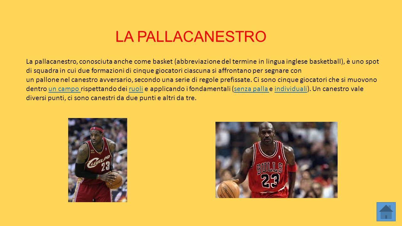 LA PALLACANESTRO La pallacanestro, conosciuta anche come basket (abbreviazione del termine in lingua inglese basketball), è uno spot di squadra in cui