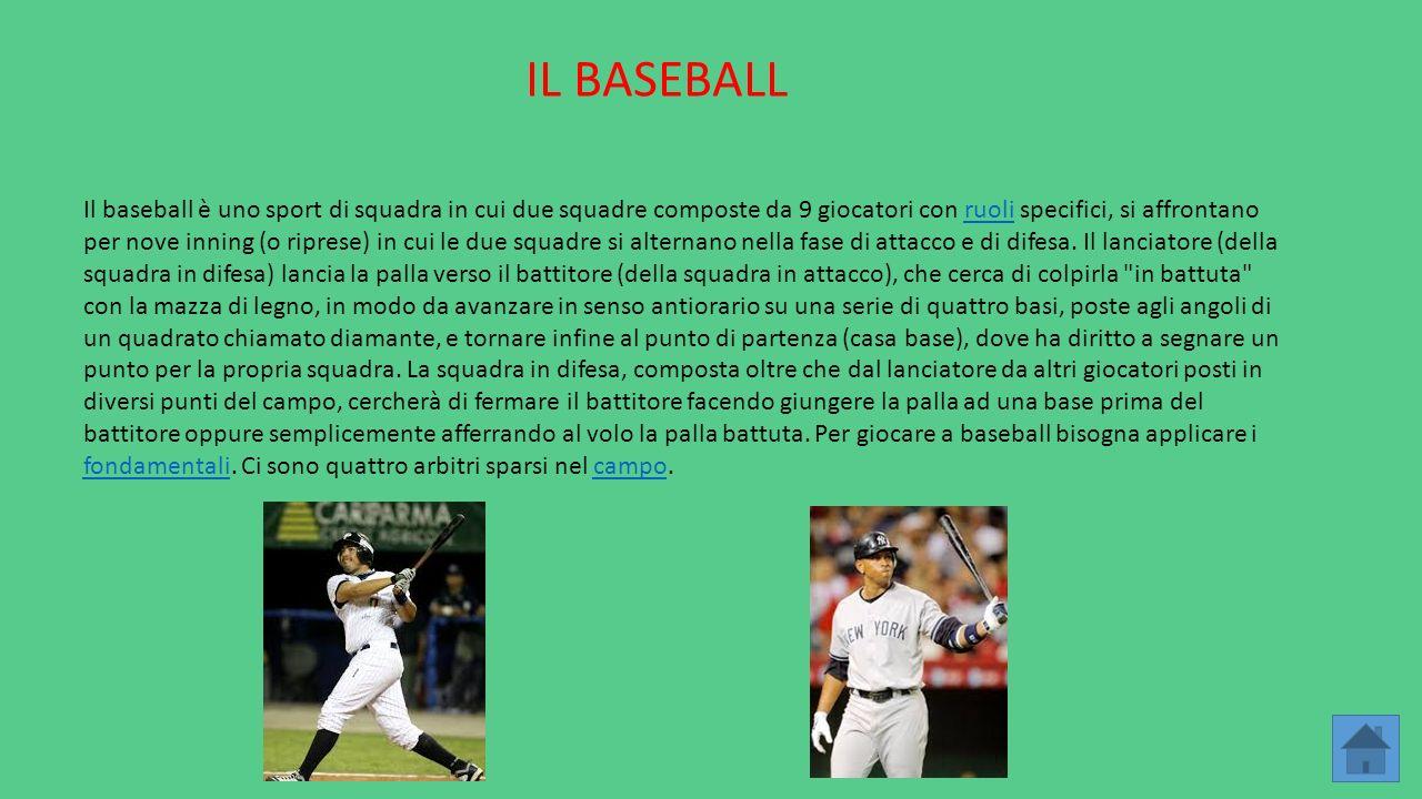 IL BASEBALL Il baseball è uno sport di squadra in cui due squadre composte da 9 giocatori con ruoli specifici, si affrontano per nove inning (o ripres