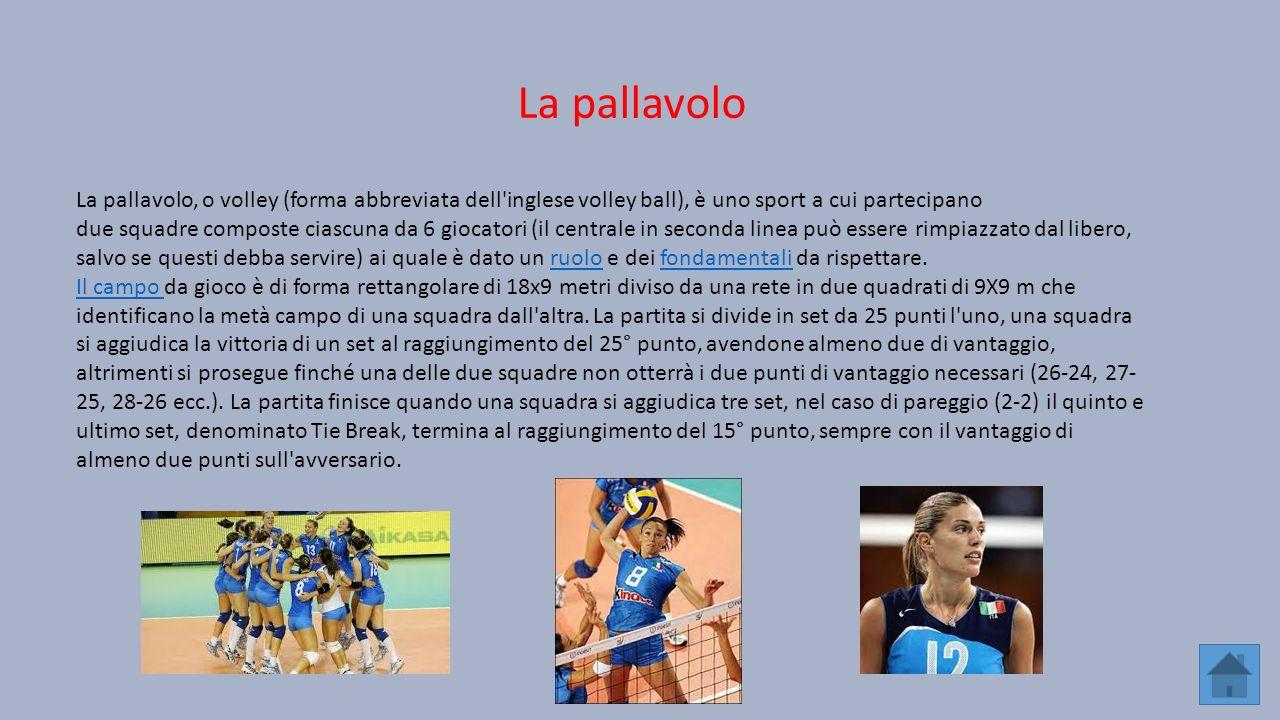 La pallavolo, o volley (forma abbreviata dell'inglese volley ball), è uno sport a cui partecipano due squadre composte ciascuna da 6 giocatori (il cen