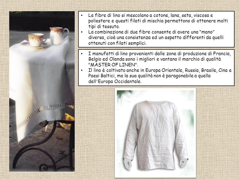 Le fibre di lino si mescolano a cotone, lana, seta, viscosa e poliestere e questi filati di mischia permettono di ottenere molti tipi di tessuto.