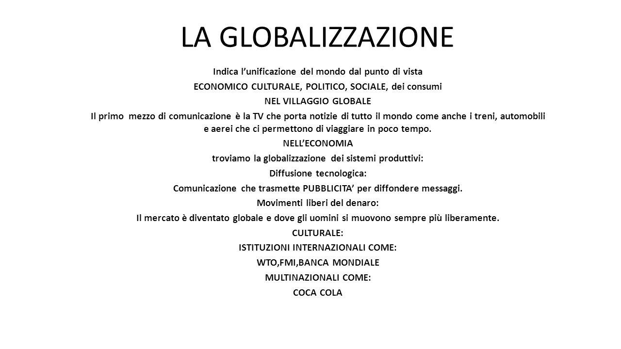 INDICA L'UNIFICAZIONE DEL MONDO DAL PUNTO DI VISTA ECONOMICO,CULTURALE,POLITICO,SOCIALE E DEI CONSUMI.