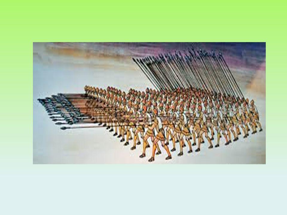 I fanti macedoni combattevano in formazione a falange: i soldati delle prime file puntavano le lance contro il nemico e i compagni seguivano con le lance oblique.