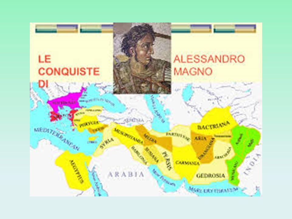 Figlio di Filippo ll, re di Macedonia, Alessandro (356- 323 a.C.), non ancora trentenne, conquistò la maggior parte delle terre allora conosciute: per questo venne chiamato Magno, cioè Grande.