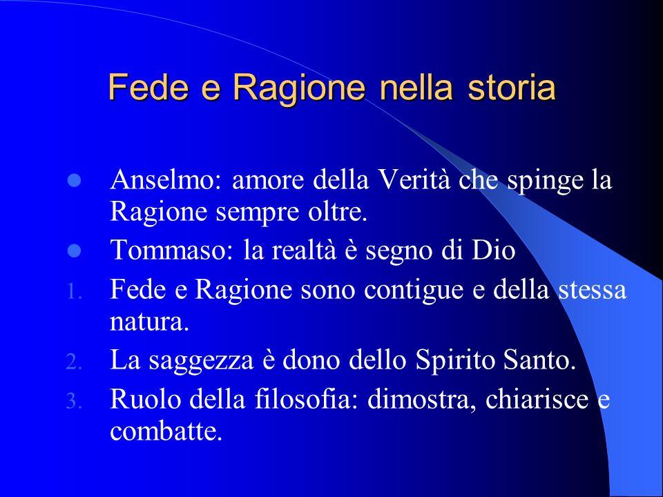 Fede e Ragione nella storia Anselmo: amore della Verità che spinge la Ragione sempre oltre.