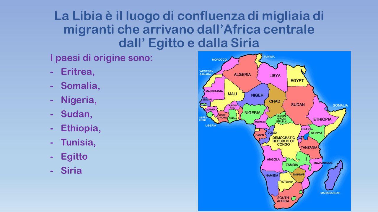 La Libia è il luogo di confluenza di migliaia di migranti che arrivano dall'Africa centrale dall' Egitto e dalla Siria I paesi di origine sono: -Eritrea, -Somalia, -Nigeria, -Sudan, -Ethiopia, -Tunisia, -Egitto -Siria
