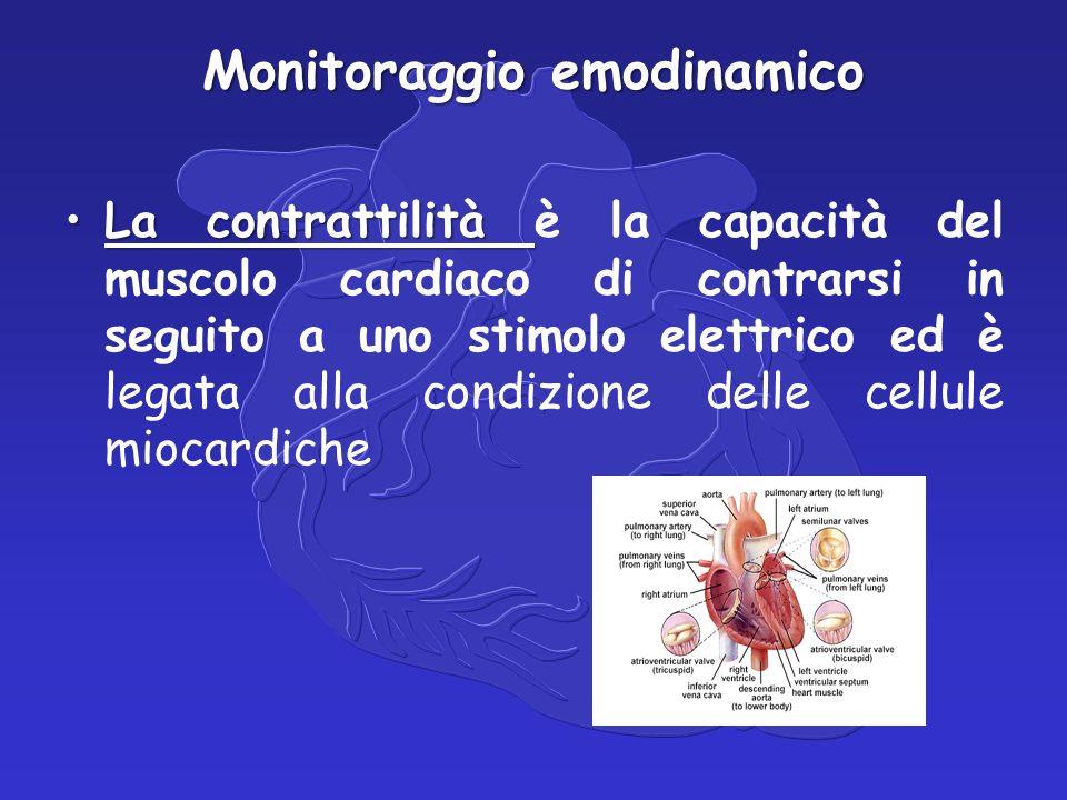 Monitoraggio emodinamico La contrattilitàLa contrattilità è la capacità del muscolo cardiaco di contrarsi in seguito a uno stimolo elettrico ed è legata alla condizione delle cellule miocardiche