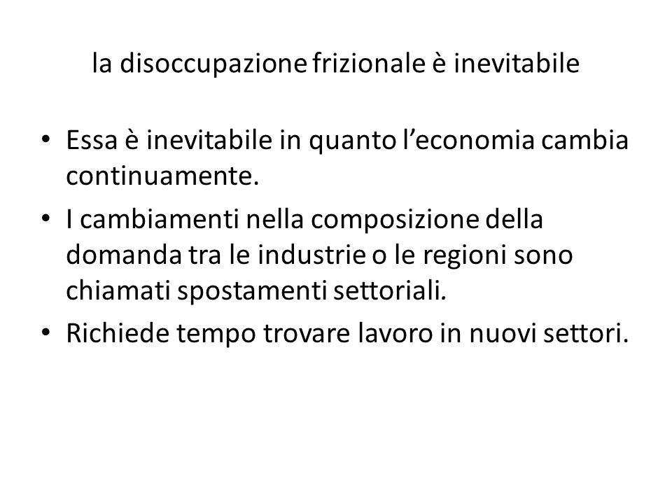 la disoccupazione frizionale è inevitabile Essa è inevitabile in quanto l'economia cambia continuamente.