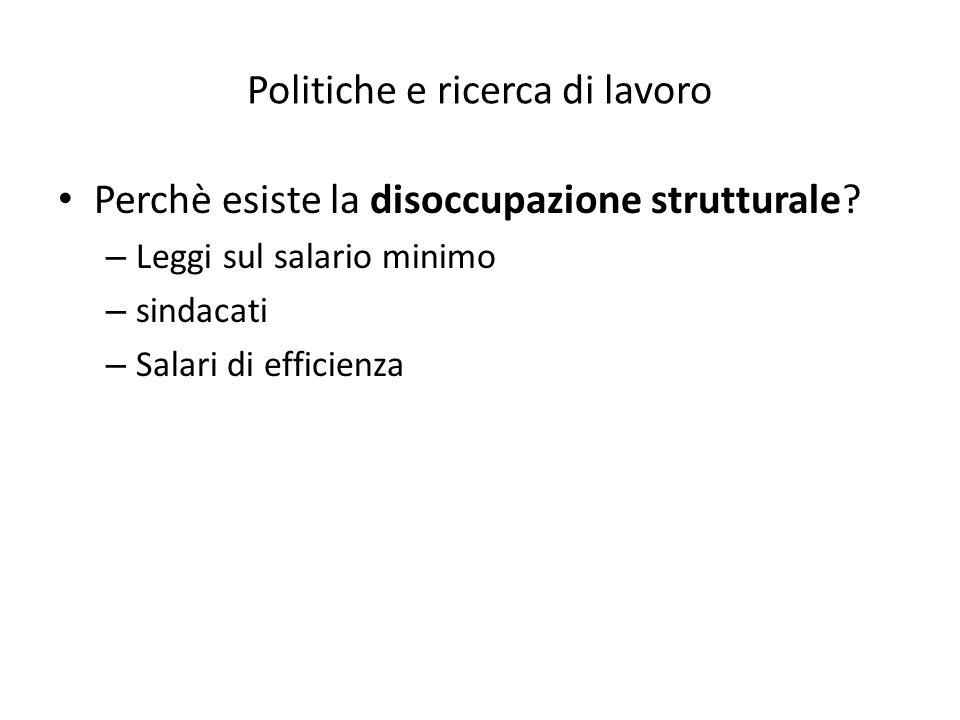 Politiche e ricerca di lavoro Perchè esiste la disoccupazione strutturale.
