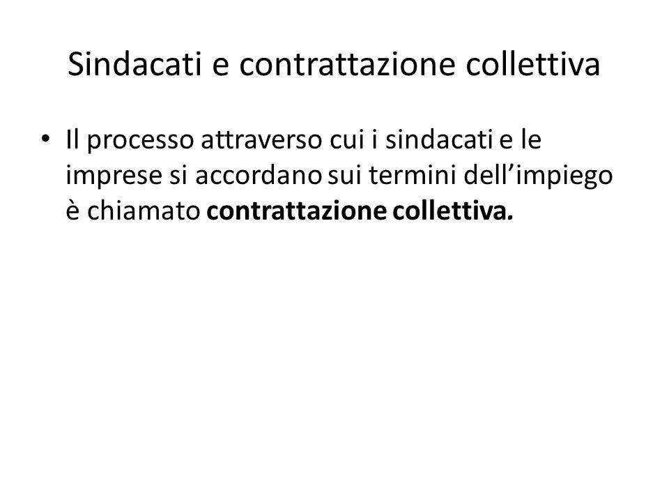 Sindacati e contrattazione collettiva Il processo attraverso cui i sindacati e le imprese si accordano sui termini dell'impiego è chiamato contrattazione collettiva.