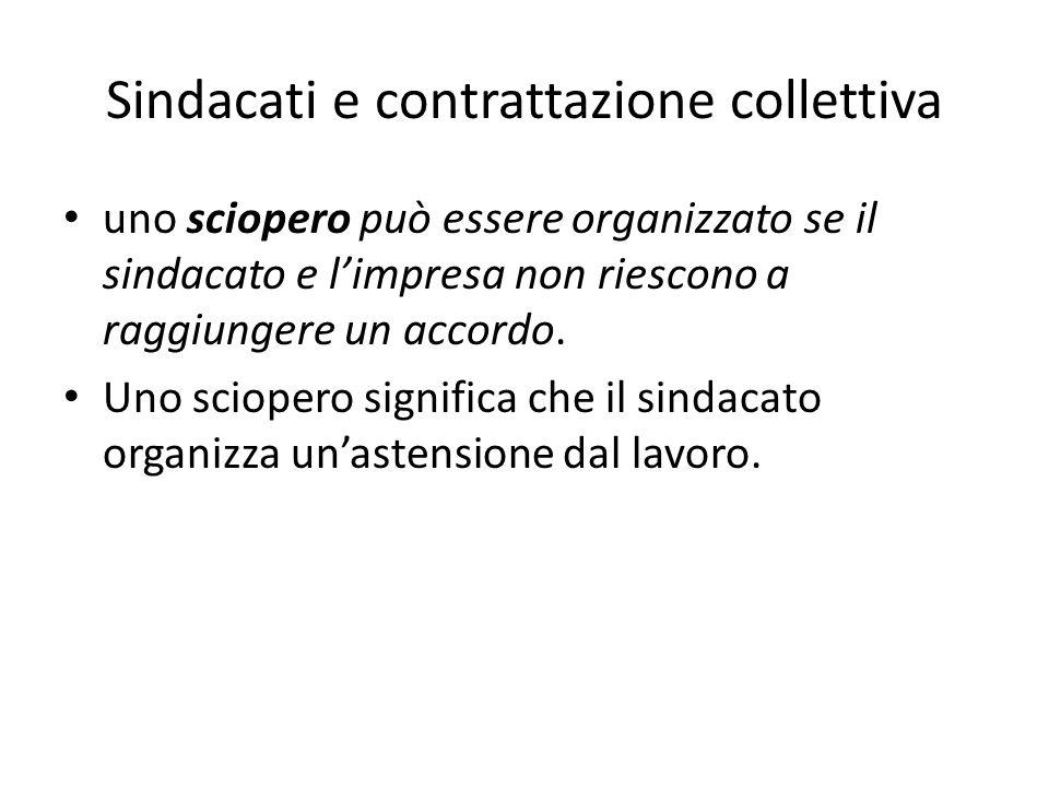 Sindacati e contrattazione collettiva uno sciopero può essere organizzato se il sindacato e l'impresa non riescono a raggiungere un accordo.