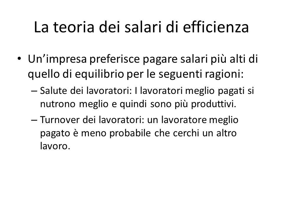 La teoria dei salari di efficienza Un'impresa preferisce pagare salari più alti di quello di equilibrio per le seguenti ragioni: – Salute dei lavoratori: I lavoratori meglio pagati si nutrono meglio e quindi sono più produttivi.