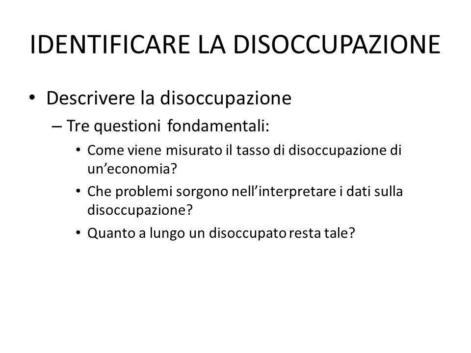 IDENTIFICARE LA DISOCCUPAZIONE Descrivere la disoccupazione – Tre questioni fondamentali: Come viene misurato il tasso di disoccupazione di un'economia.