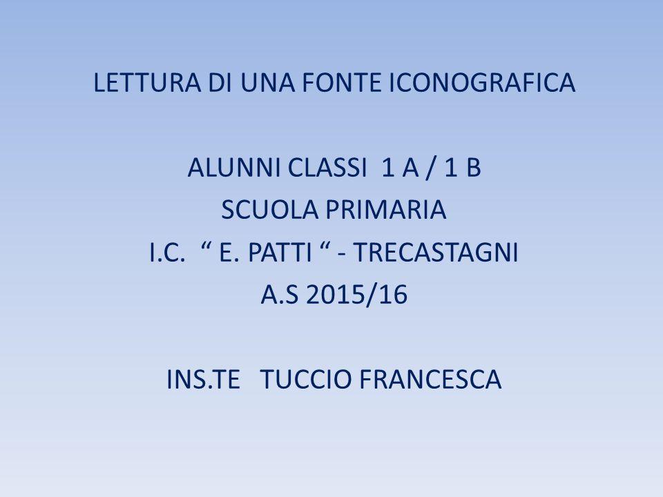 LETTURA DI UNA FONTE ICONOGRAFICA ALUNNI CLASSI 1 A / 1 B SCUOLA PRIMARIA I.C.