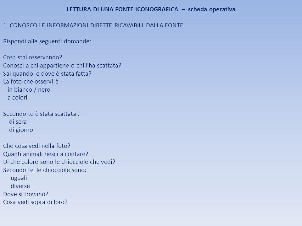 LETTURA DI UNA FONTE ICONOGRAFICA – scheda operativa 1.