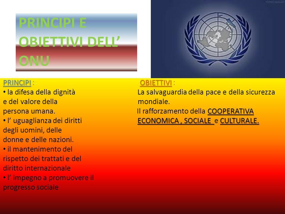 PRINCIPIOBIETTIVI PRINCIPI : OBIETTIVI : la difesa della dignità La salvaguardia della pace e della sicurezza e del valore della mondiale.