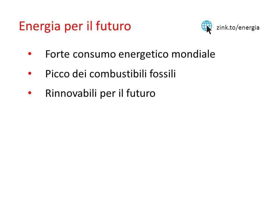 Energia per il futuro Forte consumo energetico mondiale Picco dei combustibili fossili Rinnovabili per il futuro zink.to/energia