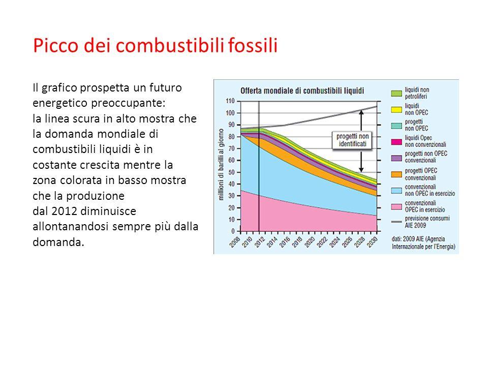 Picco dei combustibili fossili Il grafico prospetta un futuro energetico preoccupante: la linea scura in alto mostra che la domanda mondiale di combustibili liquidi è in costante crescita mentre la zona colorata in basso mostra che la produzione dal 2012 diminuisce allontanandosi sempre più dalla domanda.