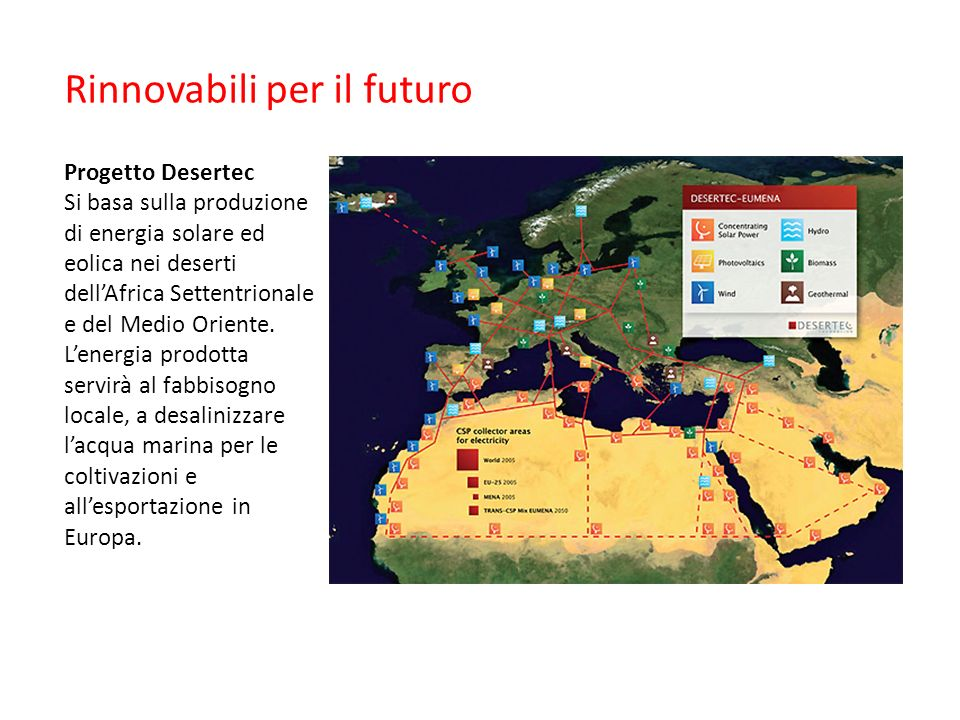 Rinnovabili per il futuro Progetto Desertec Si basa sulla produzione di energia solare ed eolica nei deserti dell'Africa Settentrionale e del Medio Or