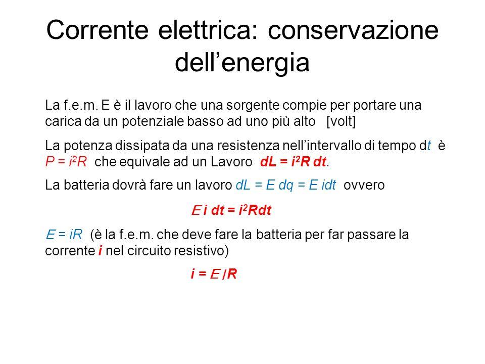 Corrente elettrica: conservazione dell'energia La f.e.m.