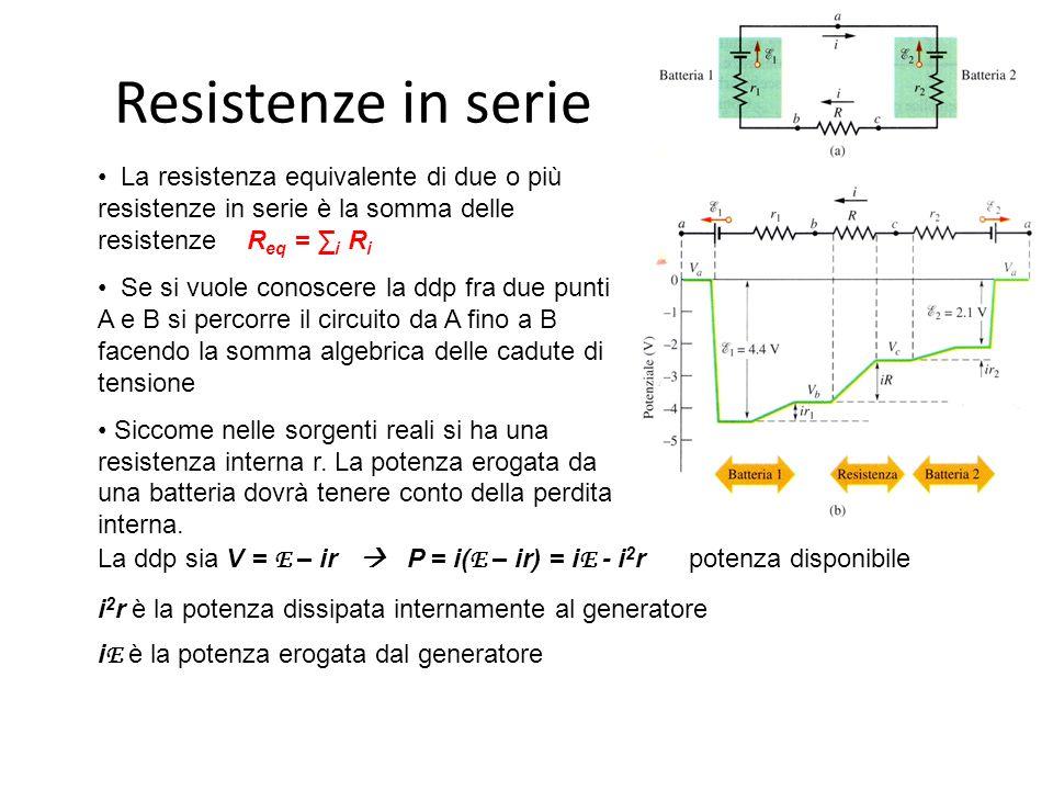 Resistenze in serie La resistenza equivalente di due o più resistenze in serie è la somma delle resistenze R eq = ∑ i R i Se si vuole conoscere la ddp fra due punti A e B si percorre il circuito da A fino a B facendo la somma algebrica delle cadute di tensione Siccome nelle sorgenti reali si ha una resistenza interna r.