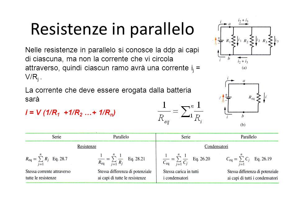 Resistenze in parallelo Nelle resistenze in parallelo si conosce la ddp ai capi di ciascuna, ma non la corrente che vi circola attraverso, quindi ciascun ramo avrà una corrente i j = V/R j.