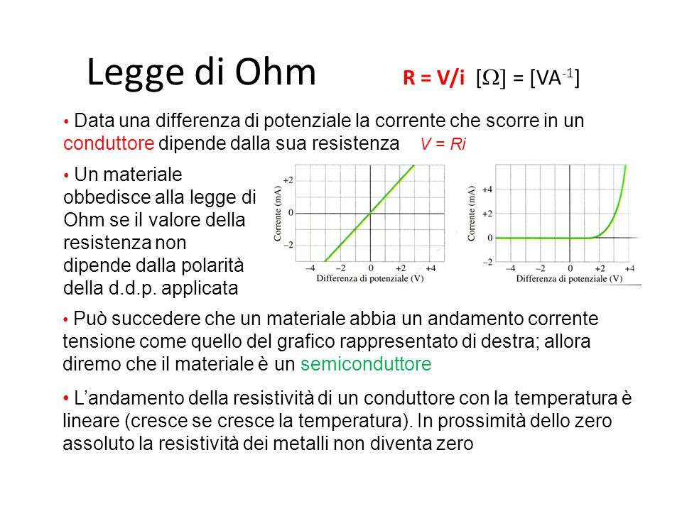 Legge di Ohm R = V/i [  = [VA -1 ] Data una differenza di potenziale la corrente che scorre in un conduttore dipende dalla sua resistenza V = Ri Un materiale obbedisce alla legge di Ohm se il valore della resistenza non dipende dalla polarità della d.d.p.
