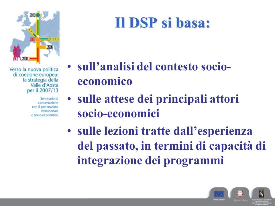 Il DSP si basa: sull'analisi del contesto socio- economico sulle attese dei principali attori socio-economici sulle lezioni tratte dall'esperienza del passato, in termini di capacità di integrazione dei programmi