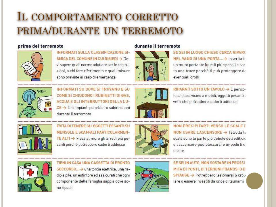 I L COMPORTAMENTO CORRETTO PRIMA / DURANTE UN TERREMOTO