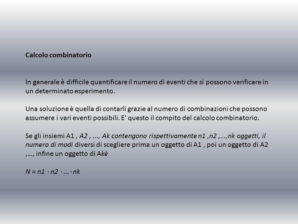 Calcolo combinatorio In generale è difficile quantificare il numero di eventi che si possono verificare in un determinato esperimento.