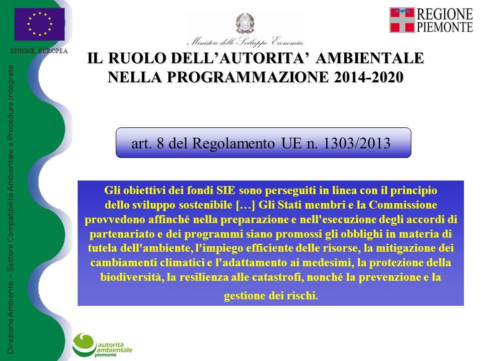UNIONE EUROPEA IL RUOLO DELL'AUTORITA' AMBIENTALE NELLA PROGRAMMAZIONE 2014-2020 Direzione Ambiente – Settore Compatibilità Ambientale e Procedure Integrate art.