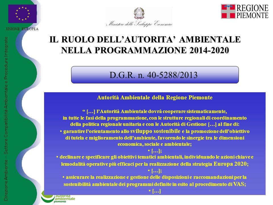 UNIONE EUROPEA IL RUOLO DELL'AUTORITA' AMBIENTALE NELLA PROGRAMMAZIONE 2014-2020 Direzione Ambiente – Settore Compatibilità Ambientale e Procedure Int