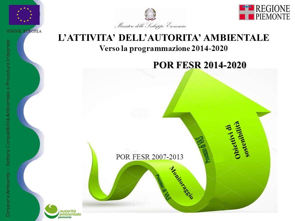 POR FESR 2007-2013 POR FESR 2014-2020 UNIONE EUROPEA Direzione Ambiente – Settore Compatibilità Ambientale e Procedure Integrate L'ATTIVITA' DELL'AUTORITA' AMBIENTALE Verso la programmazione 2014-2020 Monitoraggio Obiettivi di sostenibilità