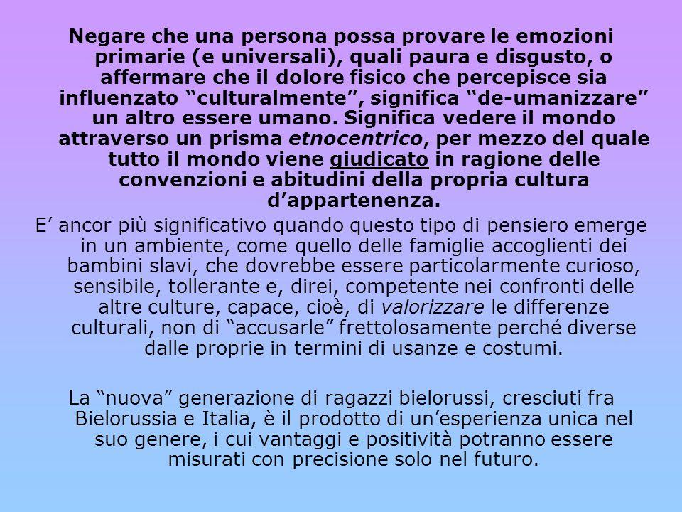 La famiglia italiana che accoglie un bambino con l'umiltà che rende capaci di imparare da lui anche in termini culturali, fornirà a sua volta al ragazzo una base sicura su cui iniziare ad apprendere in modo consapevole e con emozioni positive tutto quello che c'e da imparare in Italia.