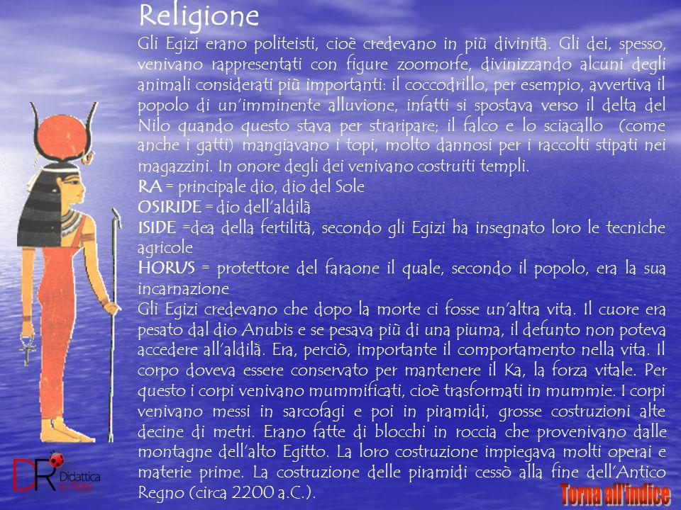 Religione Gli Egizi erano politeisti, cioè credevano in più divinità. Gli dei, spesso, venivano rappresentati con figure zoomorfe, divinizzando alcuni
