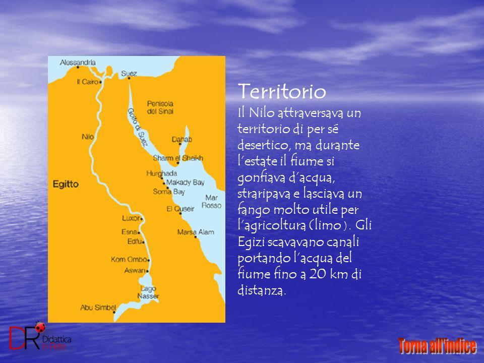 Territorio Il Nilo attraversava un territorio di per sé desertico, ma durante l'estate il fiume si gonfiava d'acqua, straripava e lasciava un fango mo