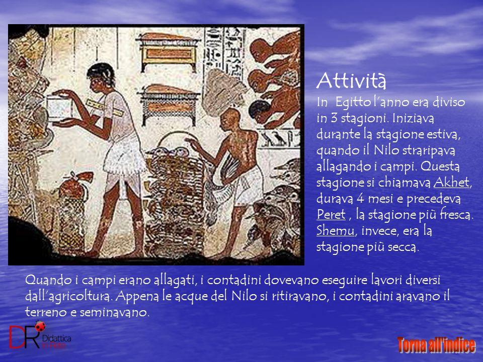 Attività In Egitto l'anno era diviso in 3 stagioni. Iniziava durante la stagione estiva, quando il Nilo straripava allagando i campi. Questa stagione