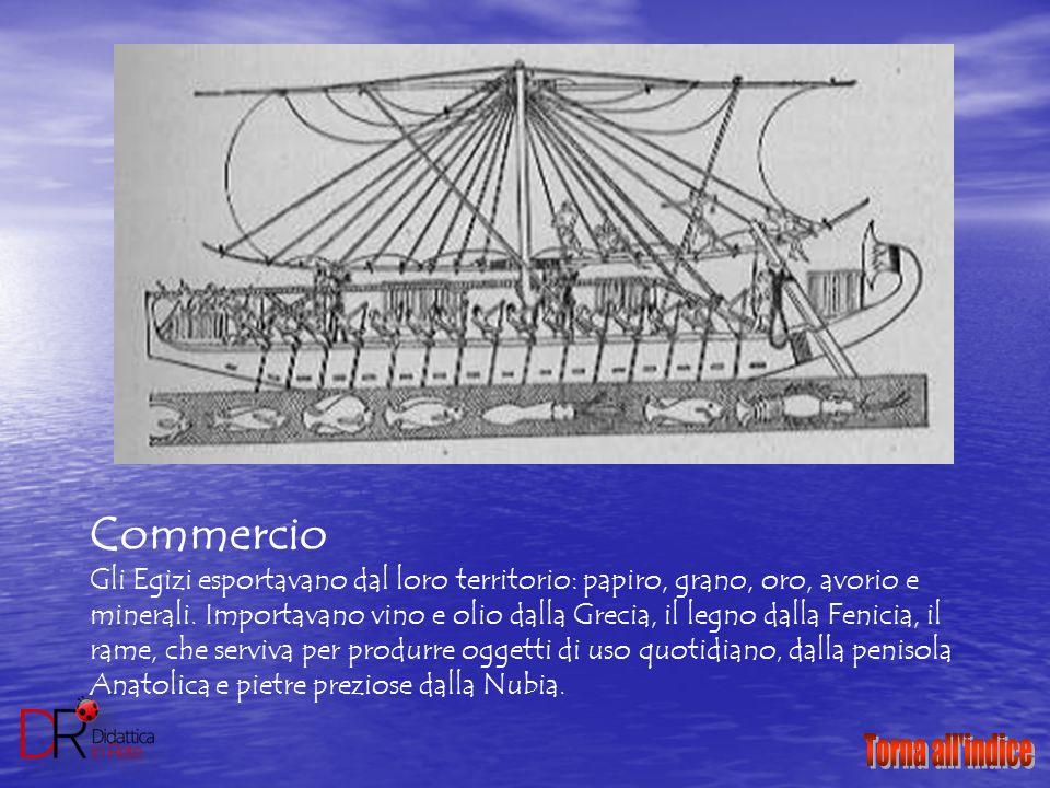 Commercio Gli Egizi esportavano dal loro territorio: papiro, grano, oro, avorio e minerali. Importavano vino e olio dalla Grecia, il legno dalla Fenic